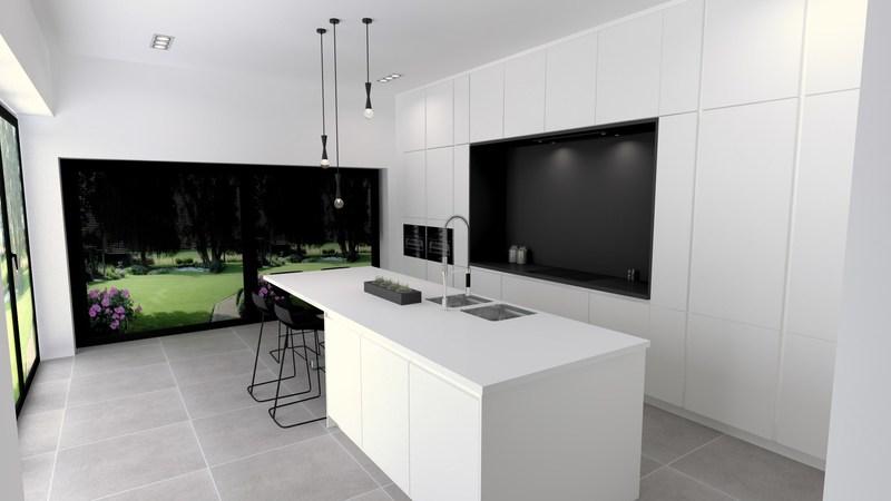 Projet 3D - Réalisation d'une cuisine blanche - Jeanfils à Liège