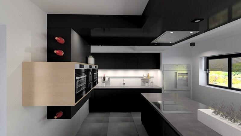 Projet 3D - Réalisation d'une cuisine design à Liège - Jeanfils