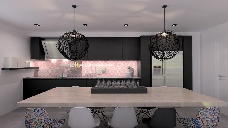 Projet 3D - Cuisine noire et design avec Jeanfils, à Liège