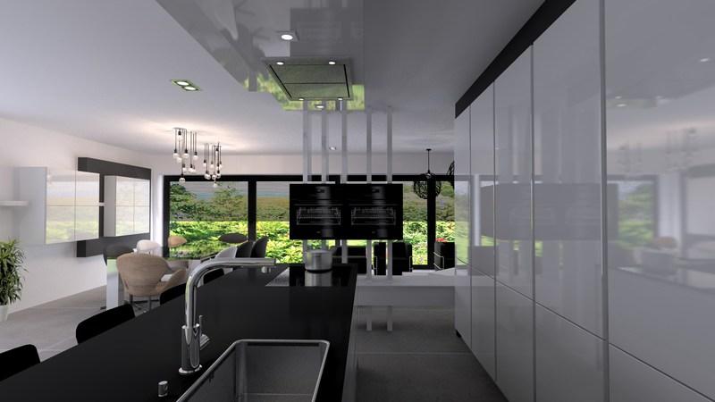 Projet 3D - Réalisation d'une cuisine blanche et lumineuse - Jeanfils à Liège