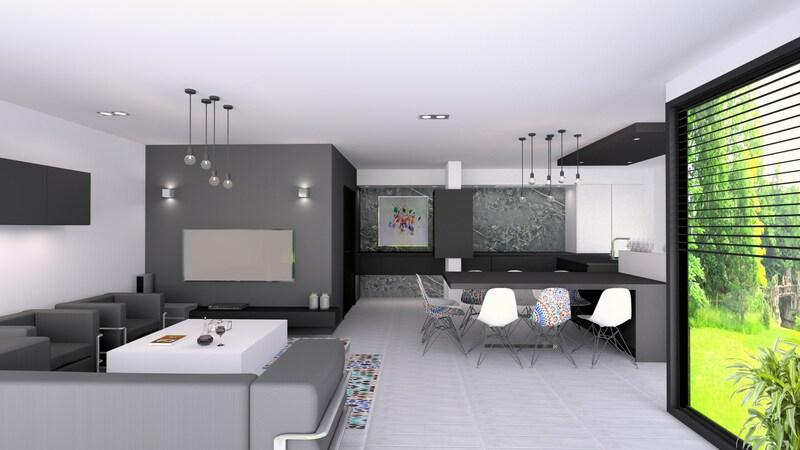 Réalisation d'un projet 3D d'une cuisine et d'un salon