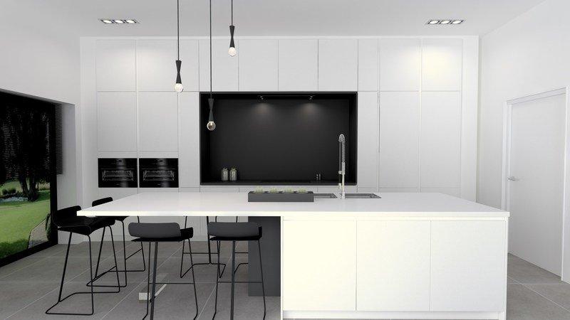 Projet 3D - Réalisation d'une cuisine blanche moderne - Jeanfils à Liège