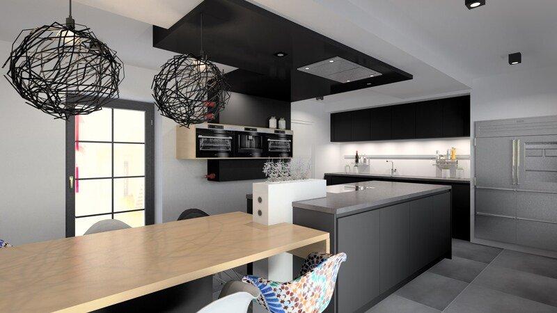 Projet 3D - Réalisation d'une cuisine design et moderne - Jeanfils à Liège