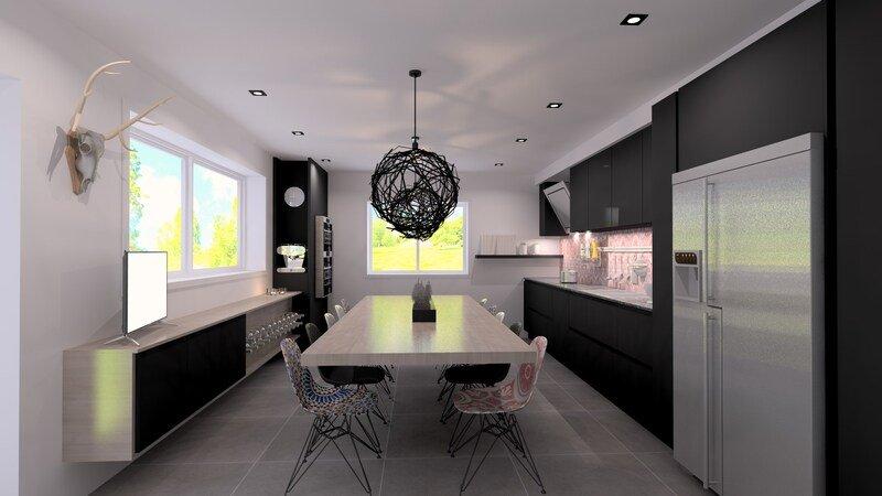 Projet 3D - Cuisine noire et design (Jeanfils, à Liège)